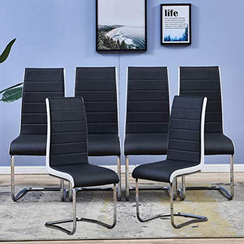 Modern Dining Chairs With Chrome Legs, 6 Dining Room Chairs