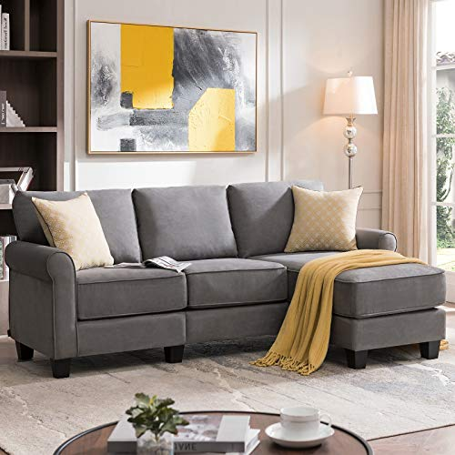 Nolany Reversible Sectional Sofa Couch, Small Apartment Sofa