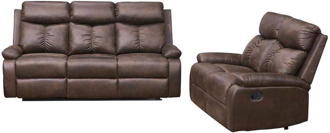 Pc Microfiber Fabric Recliner Sofa Set, Brown Fabric Recliner Sofa Set