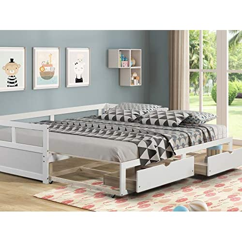 Daybed With Trundle And Two Storage, Full Size Bed With Trundle And Storage Drawers