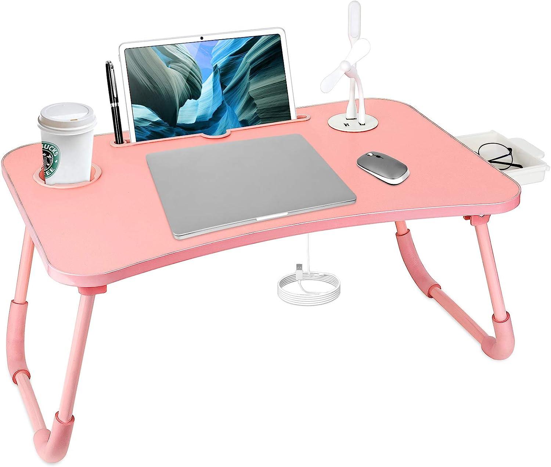 Bed Desk For Laptop, Portable Folding Computer Desk Laptop Table Workstation Furniture Black