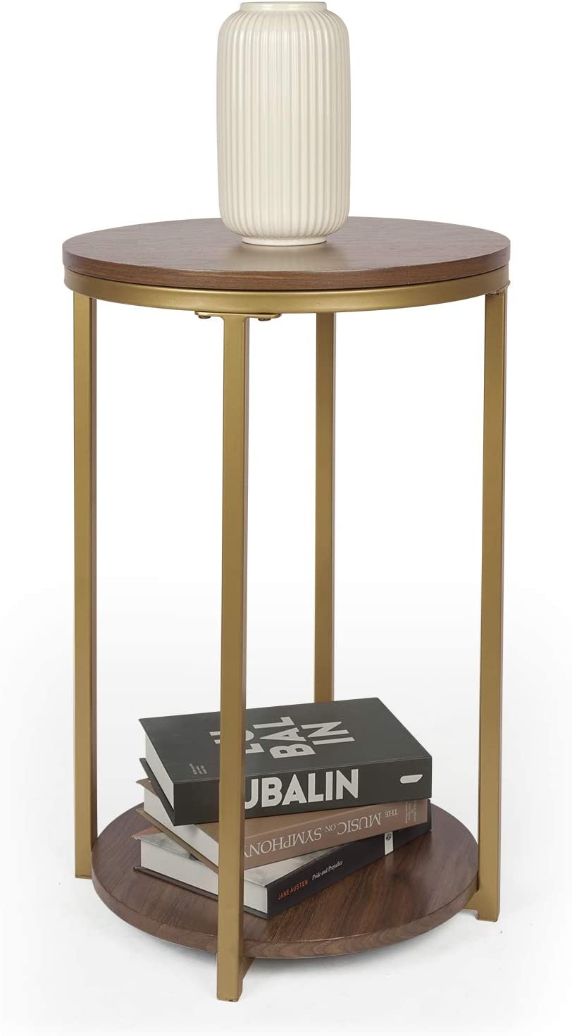 Round End Side Table Accent, Round End Tables With Storage For Living Room