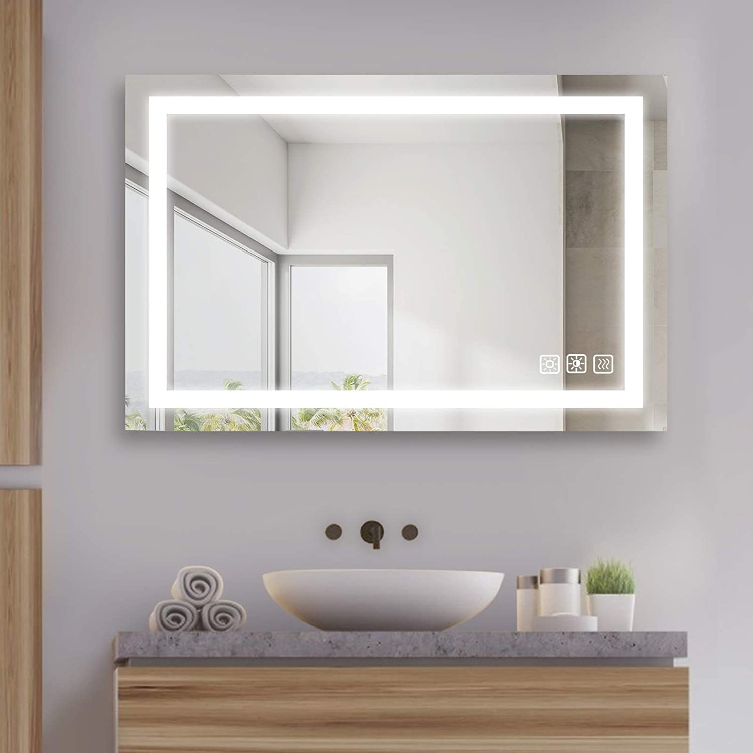 Buy Sl4u 36 X 24 Inch Led Lighted Bathroom Mirror Dimmable Wall Mounted Makeup Mirror With Light Dimming Color Tone Control Anti Fog Memory Touch Button Vertical Horizontal Ysj A001 Online