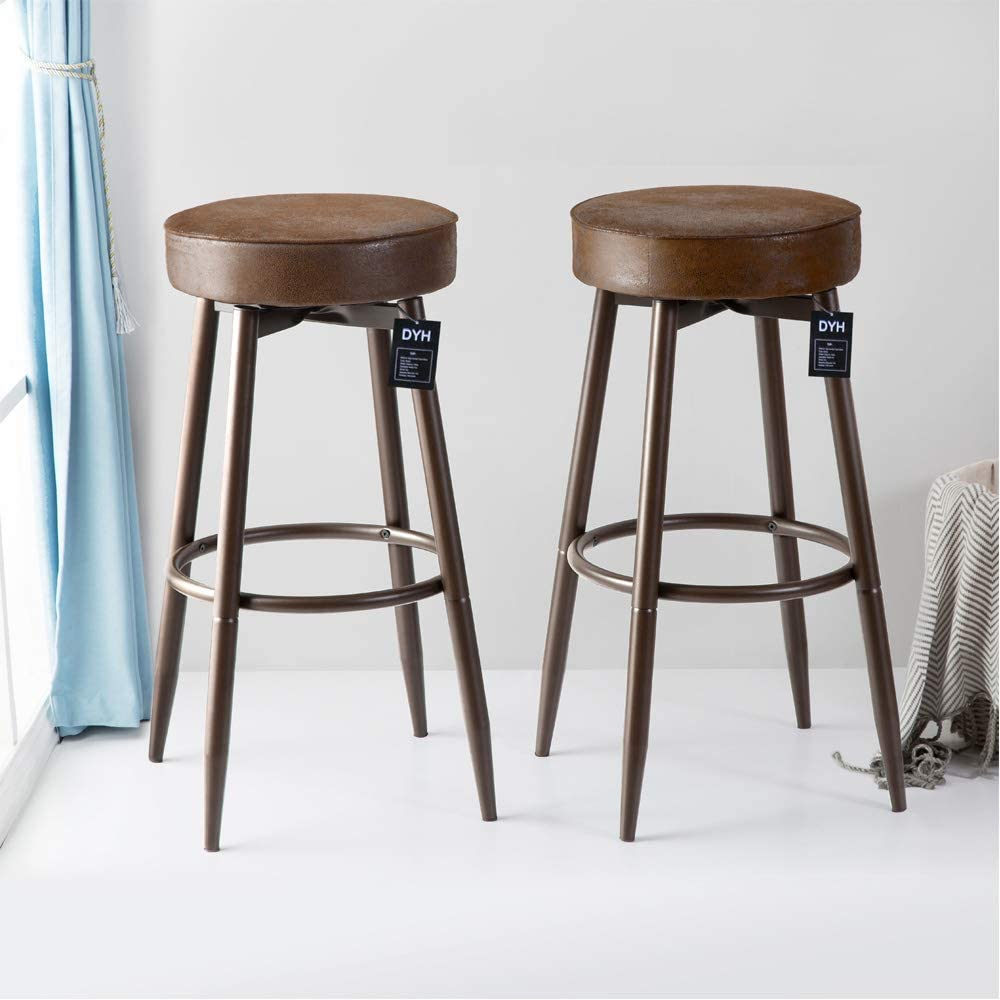 DYH Metal Bar Stools Set of 9, Swivel Chocolate Kitchen Counter Stool,  Adjustable Industrial Round Barstool, Brown Bar Chairs, 94 or 99 Inch for  ...