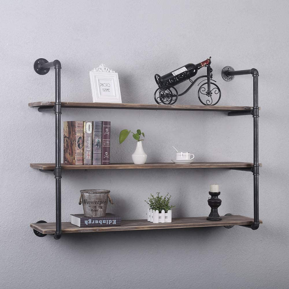 Industrial Pipe Shelving Wall Mounted,Rustic Metal Floating  Shelves,Steampunk Real Wood Book Shelves,Wall Shelf Unit Bookshelf Hanging  Wall ...