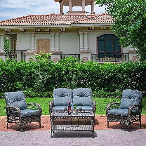 Jvvmnjlk Patio Wicker Furniture Set, All Weather Outdoor Furniture