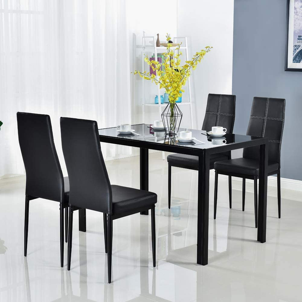 Bonnlo 5 Pieces Dining Table Set, Small Black Dining Table And Chairs