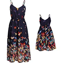38d6e822b PopReal Mommy and Me Vintage Spaghetti Straps Off-Shoulder Butterfly Print  Party Beach Cami Dress