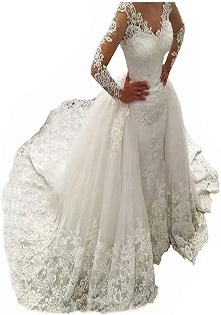 Fair Lady Illusion Vintage Lace Long Sleeve Wedding Dress for Bride 20  Beads Mermaid Bridal Dresses Detachable Train