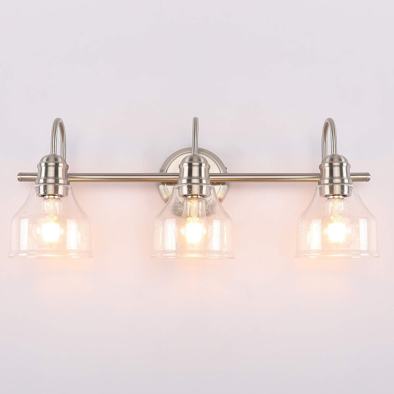 Sozomo Vanity Lighting With Bubble, Bathroom Lights Over Mirror Brushed Nickel