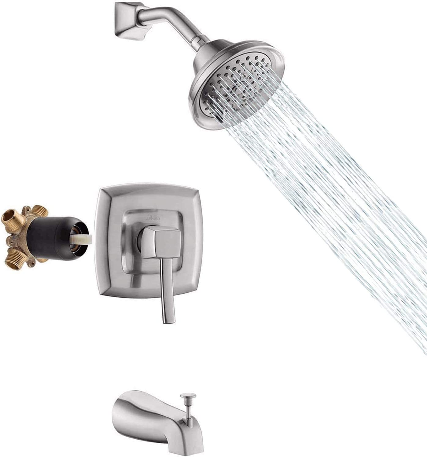Buy APPASO Shower Faucet & Tub and Valve Set Brushed Nickel ...