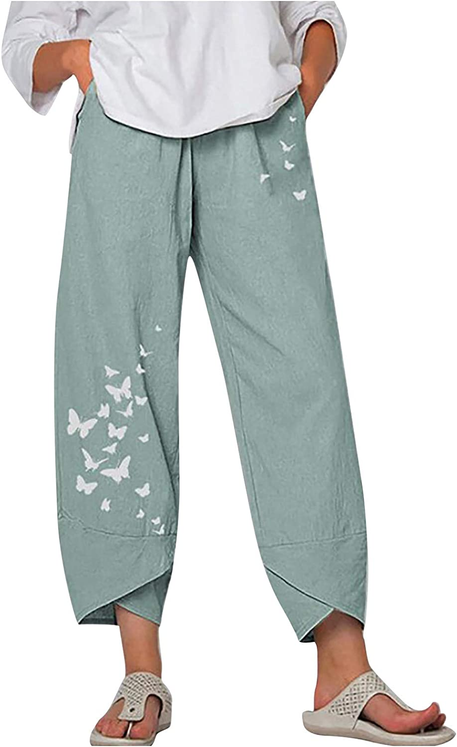 Maryia 2021 Summer Cotton Linen Capris Pants for Women Casual ...