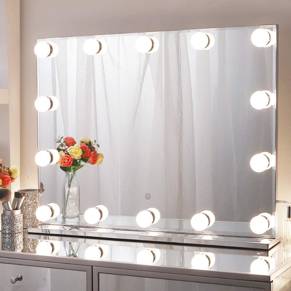 Buy Large Hollywood Vanity Mirror 80x60cm Frameless Vanity Makeup Mirror With Lights For Dressing Table Light Up Mirror With 3 Color Lighting Modes Online In Turkey B08dj4dtv7