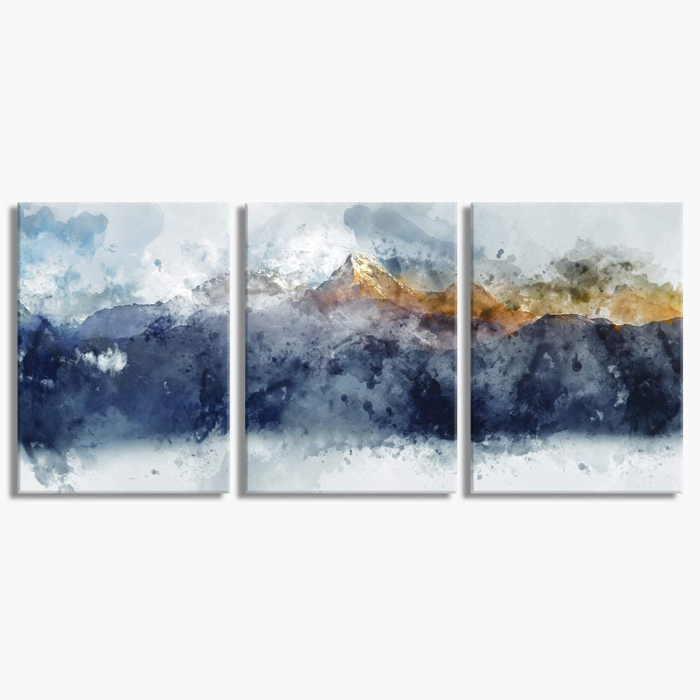 Buy Abstract Canvas Wall Art For Living Room Modern Navy Blue Abstract Mountains Print Poster Picture Artworks For Bedroom Bathroom Kitchen Wall Decor 3 Pieces Framed Ready To Hang Online In Turkey