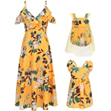 f7791f37 PopReal Mommy and Me Floral Print V-Neck Cold Shoulder Ruffle Backless Matching  Outfits