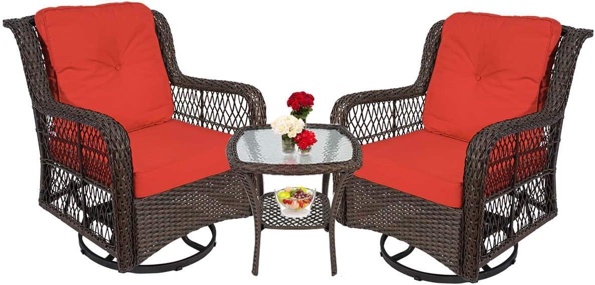 360 Degree Swivel Rattan Bistro Set, Swivel Glider Outdoor Chair Set