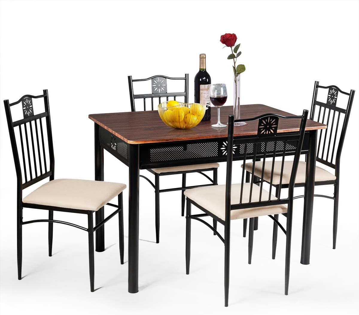Tangkula 5 Piece Dining Table And, Retro Dining Room Furniture