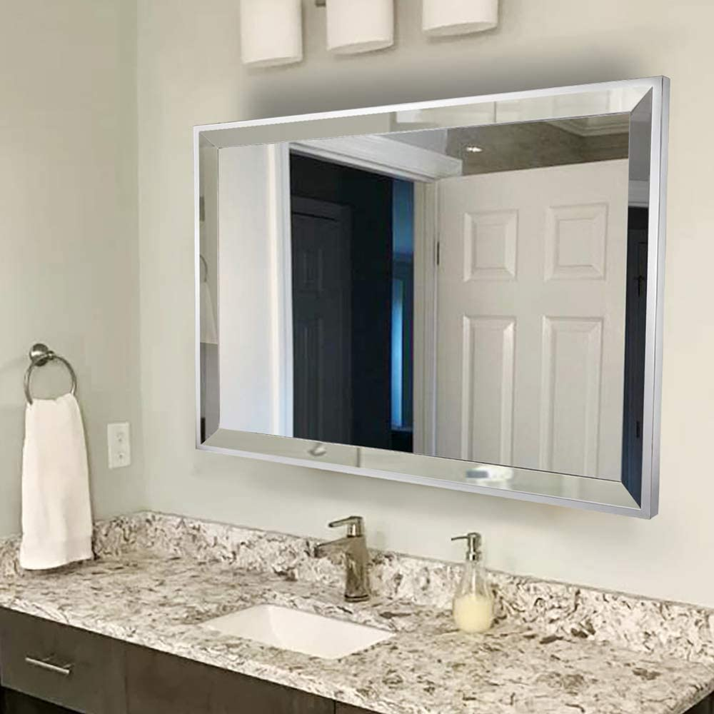 Buy Chende Rectangle Wall Bathroom Mirror with 2 Big Beveled Edge, 36X28  Large Living Room Mirror with Stainless Steel Frame, Horizontally or  Vertically Design Online in Turkey. B08GLFCG14