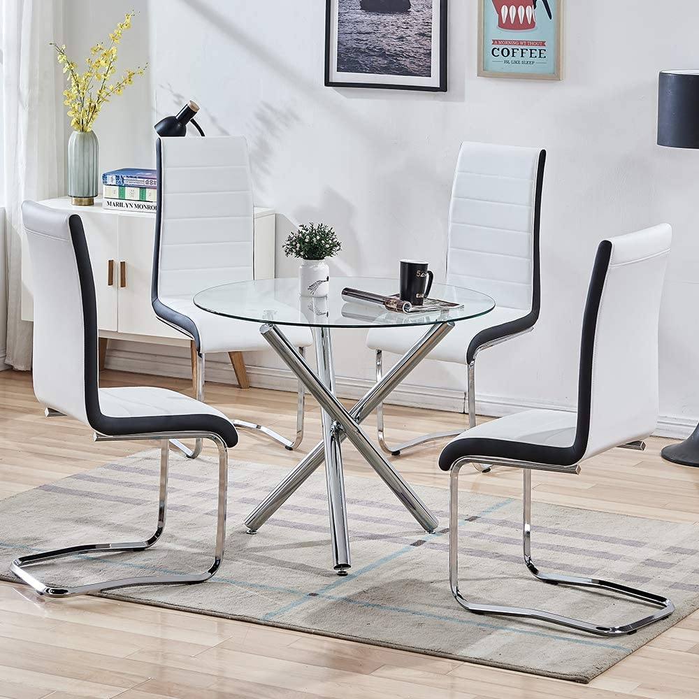 SICOTAS 9 Piece Round Dining Table Set for 9 Person, Modern Round Glass  Table with Faux Leather High Back Dining Room Chairs,Dining Set for Dining  ...