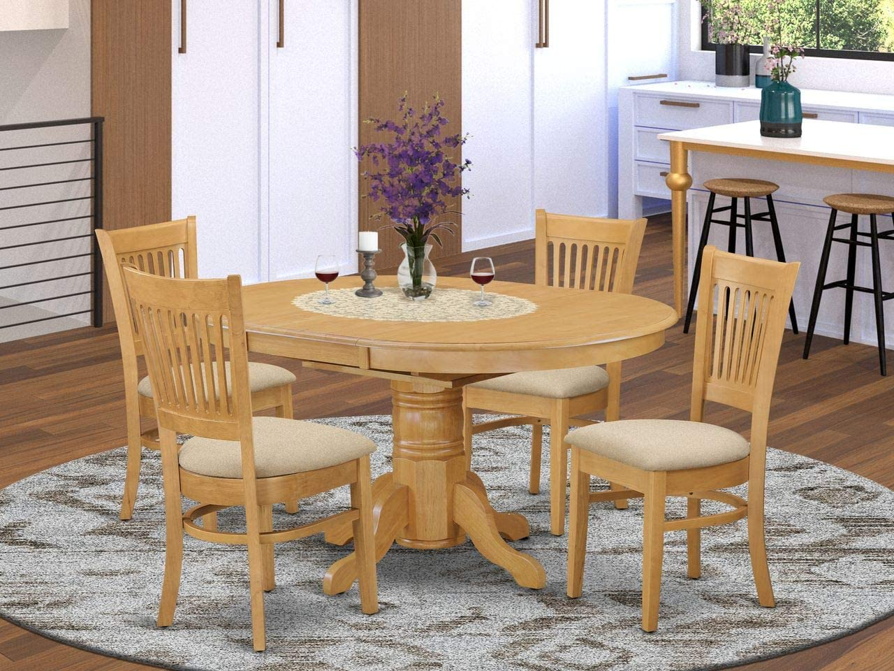 East West Furniture AVVA9 OAK C dining room table set  9 Awesome wooden  dining chairs   A Lovely dinner table  Linen Fabric seat and Oak Finnish ...