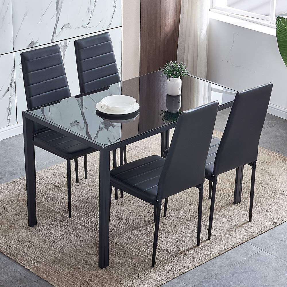 9 Piece Modern Black Dining Table and Chairs Set of 9 for Small Kitchen,  Glass Tempered Rectangular Table and 9 Black Faux Leather Chairs for Small  ...