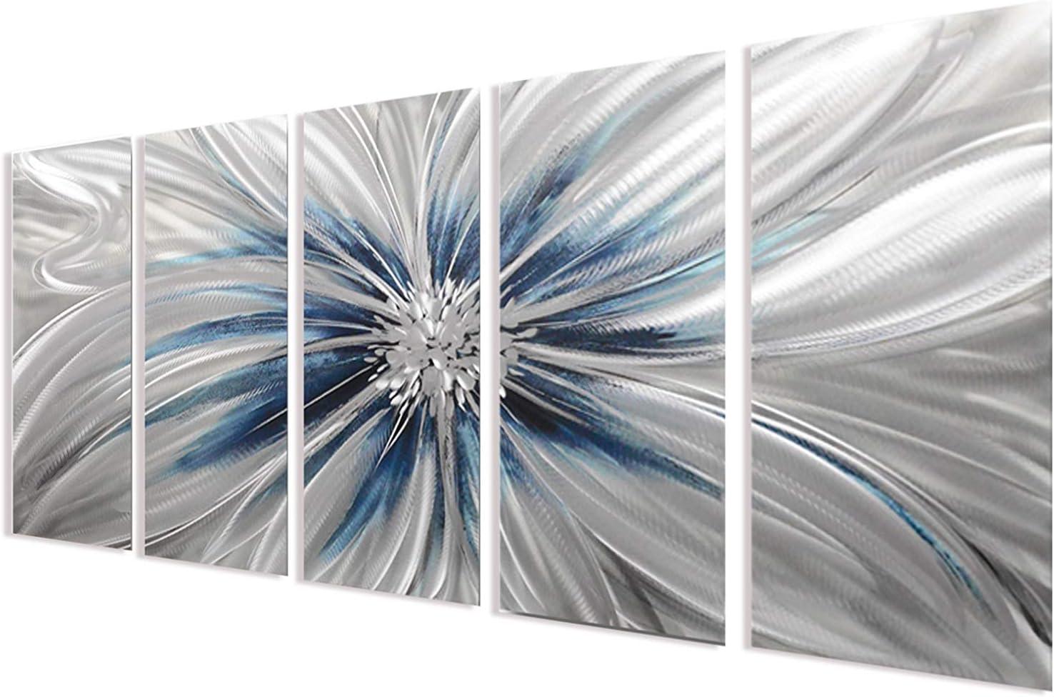 Silver Modern Sculpture Decor, Contemporary Metal Wall Art For Living Room