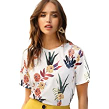 202800a4c7 SheIn Women's Casual Round Neck Rose Floral Print Short Sleeve Summer  Tee