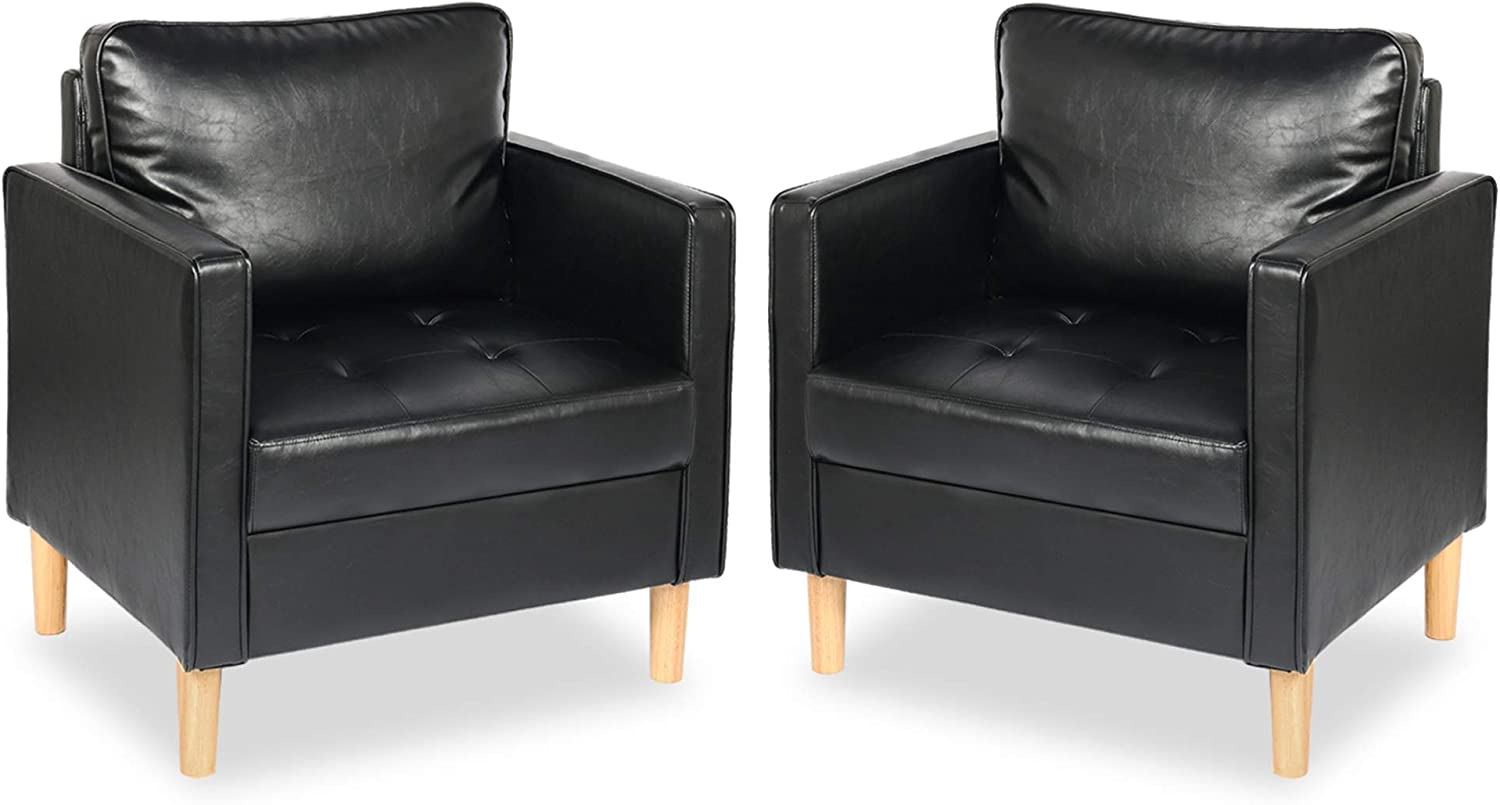 Tufted Single Sofa Reading Chair Living, Black Leather Accent Chairs For Living Room