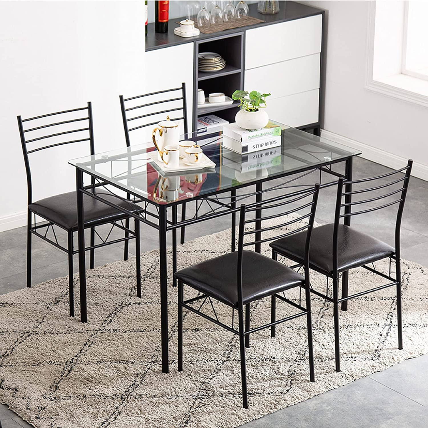 5 Piece Dining Room Table And Chair Set, Wrought Iron Dining Table And Chair Set