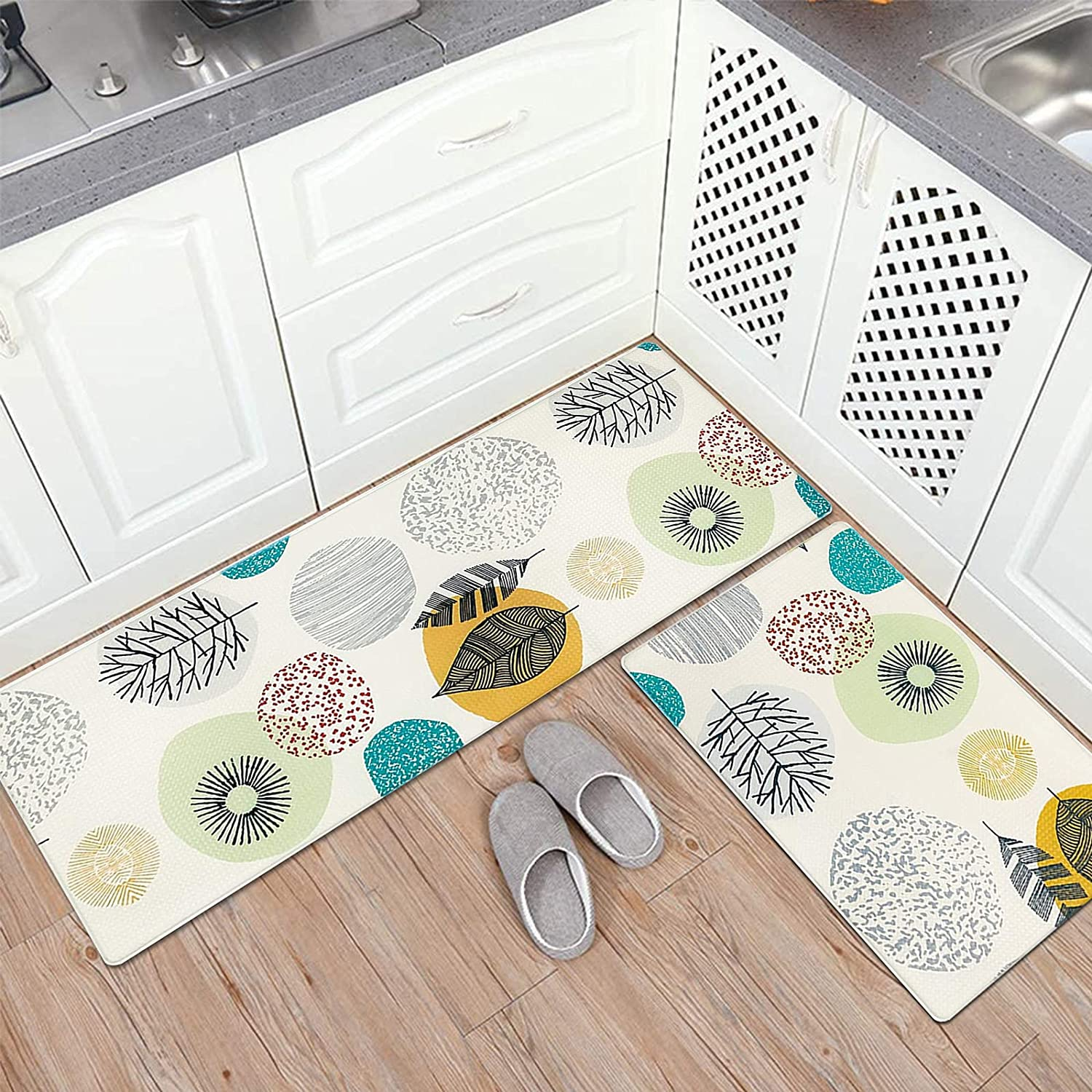 Buy Pauwer Anti Fatigue Kitchen Floor Mat Set Of 2 Non Slip Waterproof Comfort Standing Desk Mats Thick Cushioned Anti Fatigue Kitchen Rugs And Mats Colorful Online In Turkey B088k6hpql