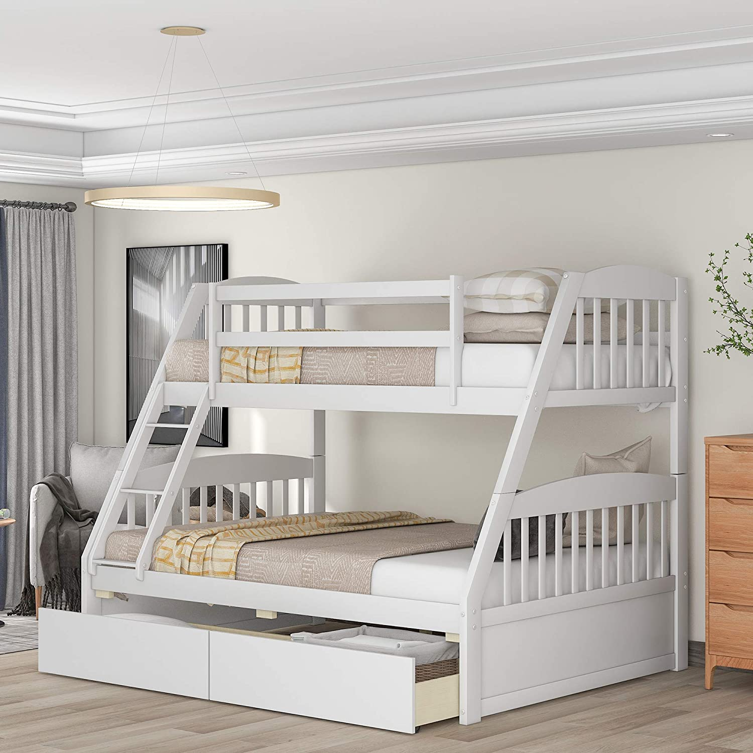 Buy Solid Wood Twin Over Full Bunk Beds With 2 Storage Drawers Danxee Bunk Beds For Kids With Ladder And Guard Rail White Online In Turkey B0872q8bkm