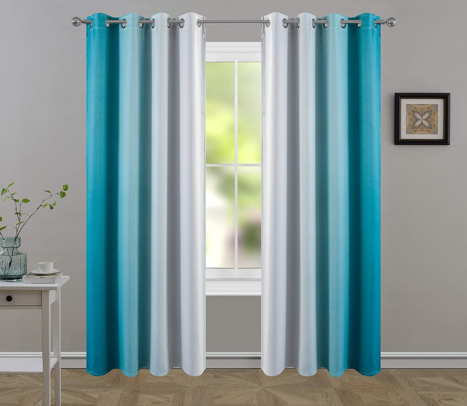 Hhmy Blackout Light Blocking Curtains, Light Blue Curtains Living Room