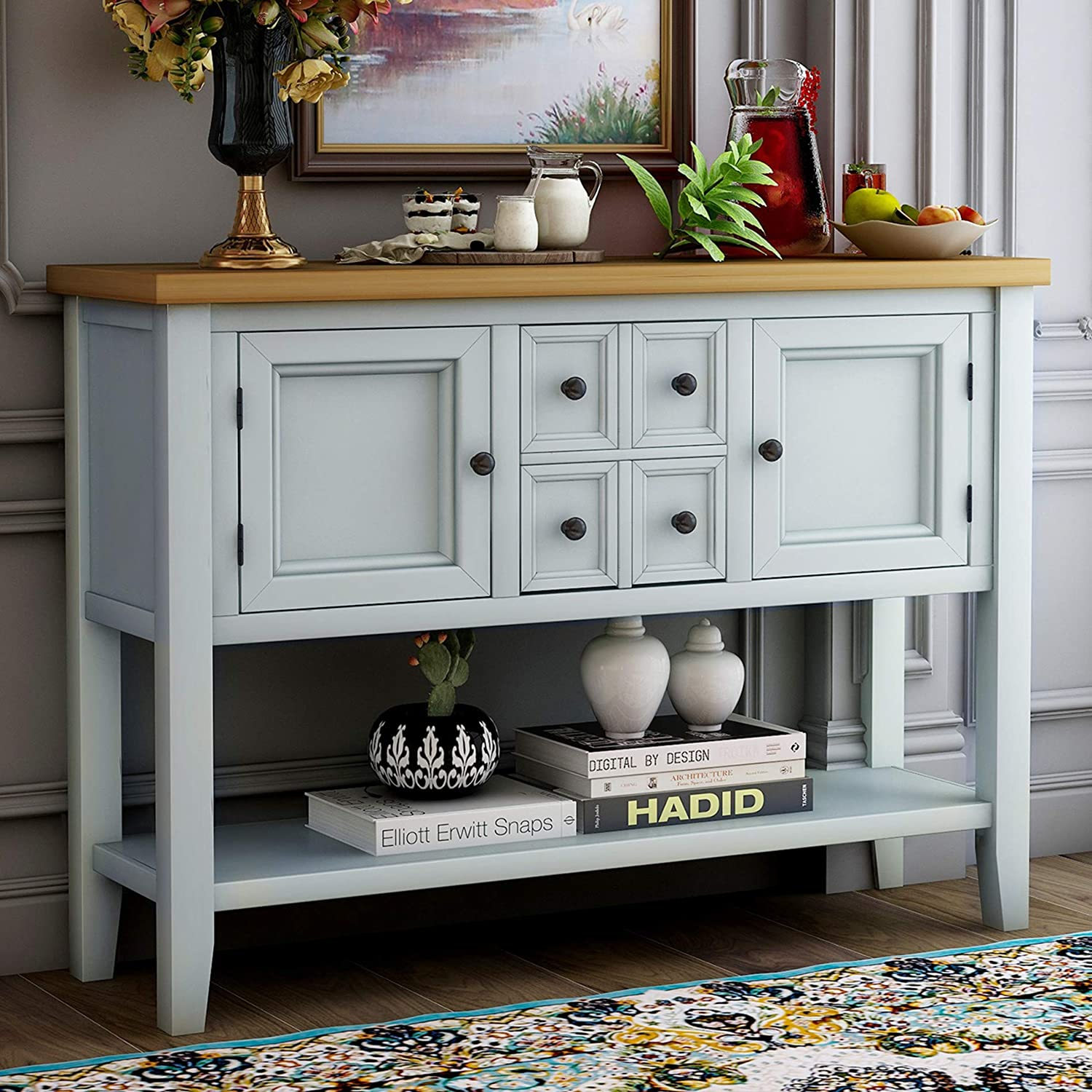 Purlove Console Table Buffet, Console Table With Storage Bins