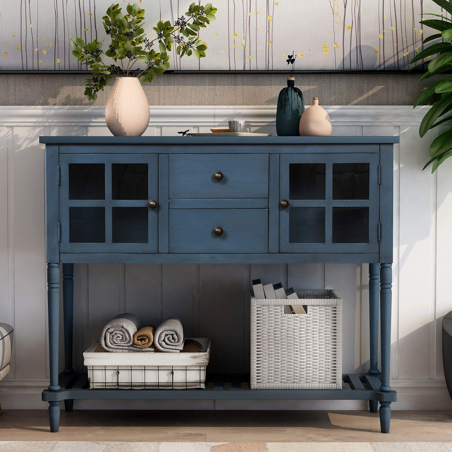 Buffet Table With Drawer Console, Console Table With Storage Bins
