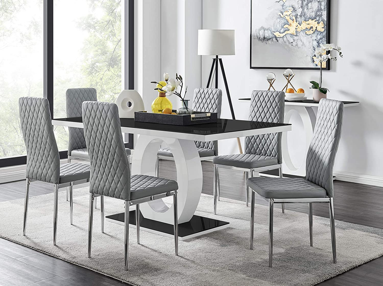 White High Gloss Glass Dining Table Set, Dining Room Chairs Set Of 6