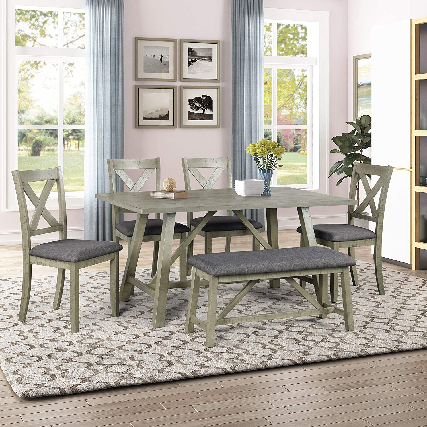 Padded Chairs Wood Dining Table, 6 Piece Dining Room Set