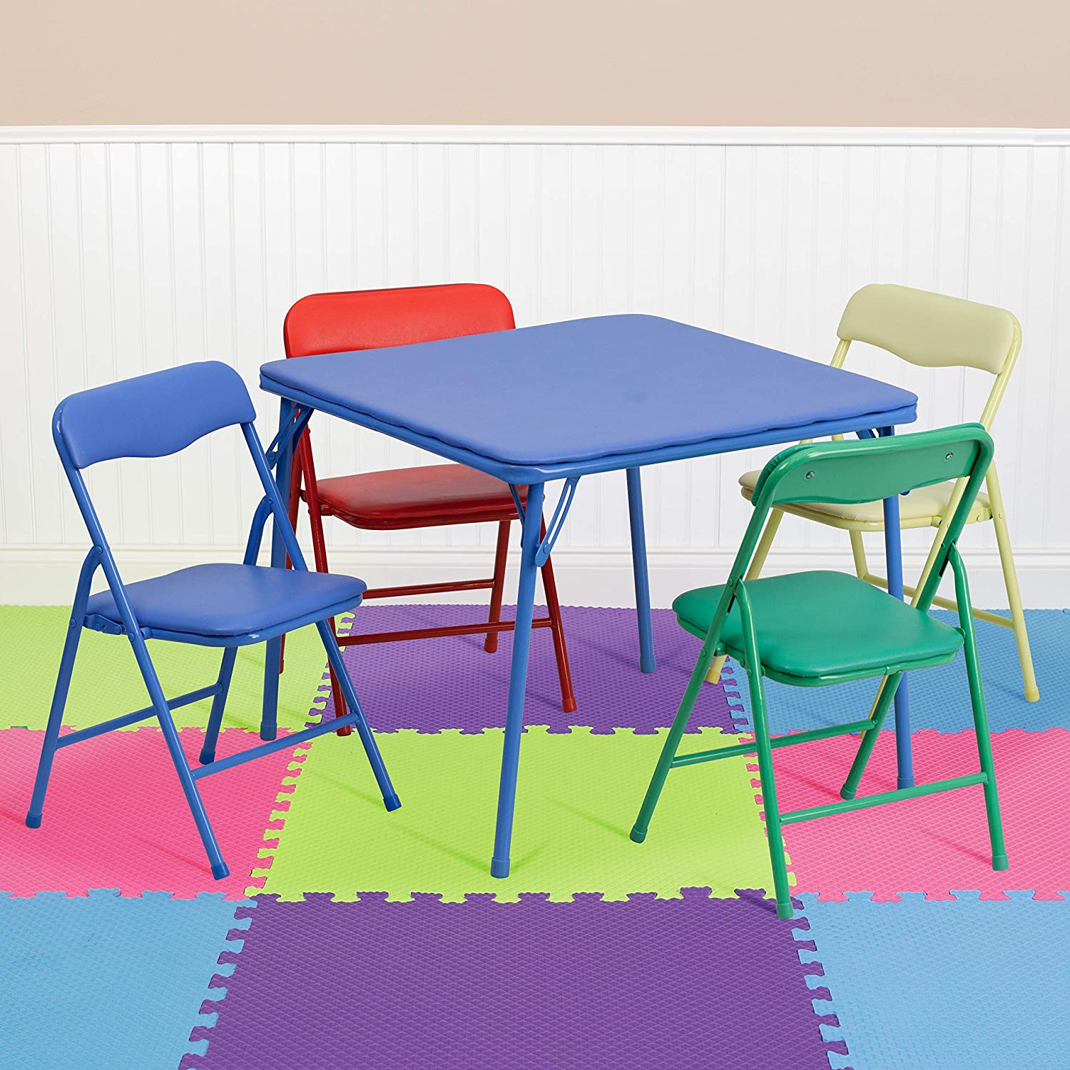 Flash Furniture Kids Colorful 10 Piece Folding Table and Chair Set