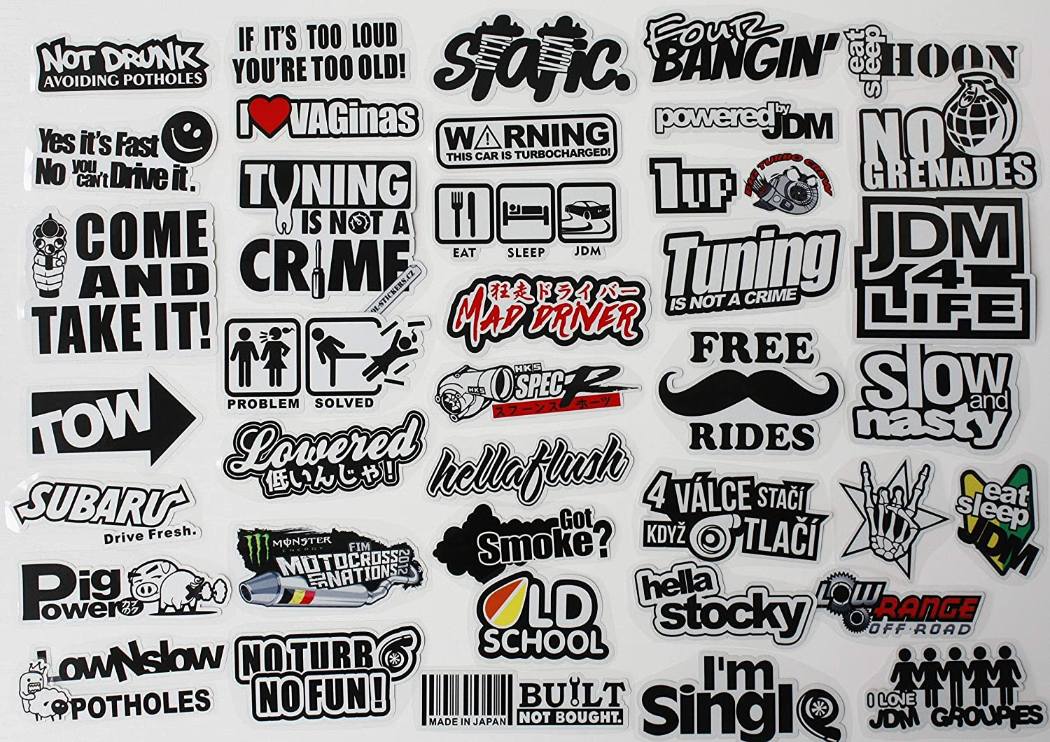 Buy 41pcs Jdm Car Sticker Racing Decale For Cars Motorcycle Helmet Reflex Decals Graphics Drift Slammed Race Funny Truck Stickers Car Side Decals Online In Turkey B07hp7bh7g